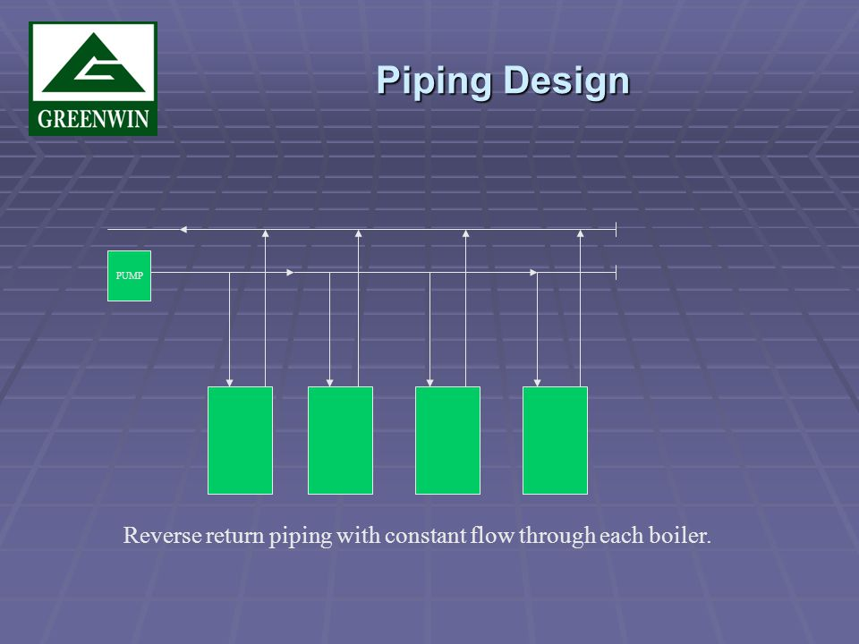 Piping Design Piping Design PUMP Reverse return piping with constant flow through each boiler.