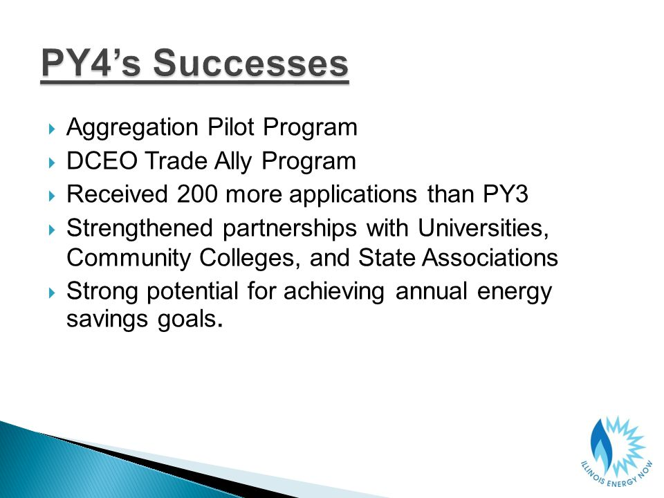 Aggregation Pilot Program DCEO Trade Ally Program Received 200 more applications than PY3 Strengthened partnerships with Universities, Community Colleges, and State Associations Strong potential for achieving annual energy savings goals.