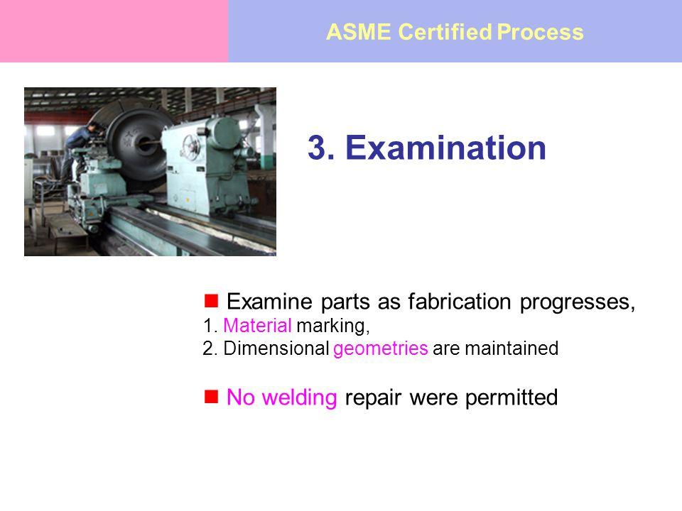 3. Examination Examine parts as fabrication progresses, 1.