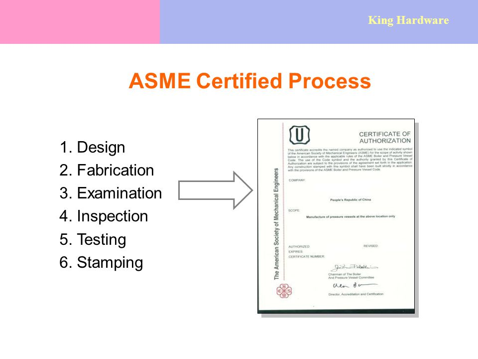 ASME Certified Process 1. Design 2. Fabrication 3.