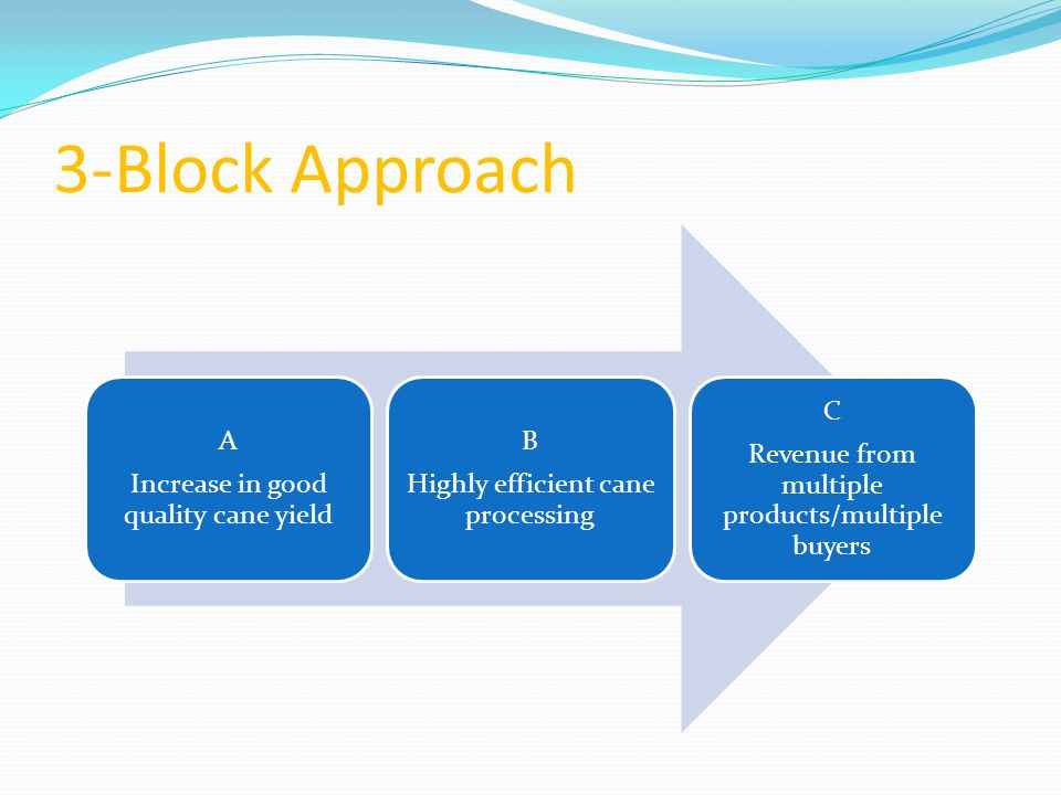 3-Block Approach A Increase in good quality cane yield B Highly efficient cane processing C Revenue from multiple products/multiple buyers