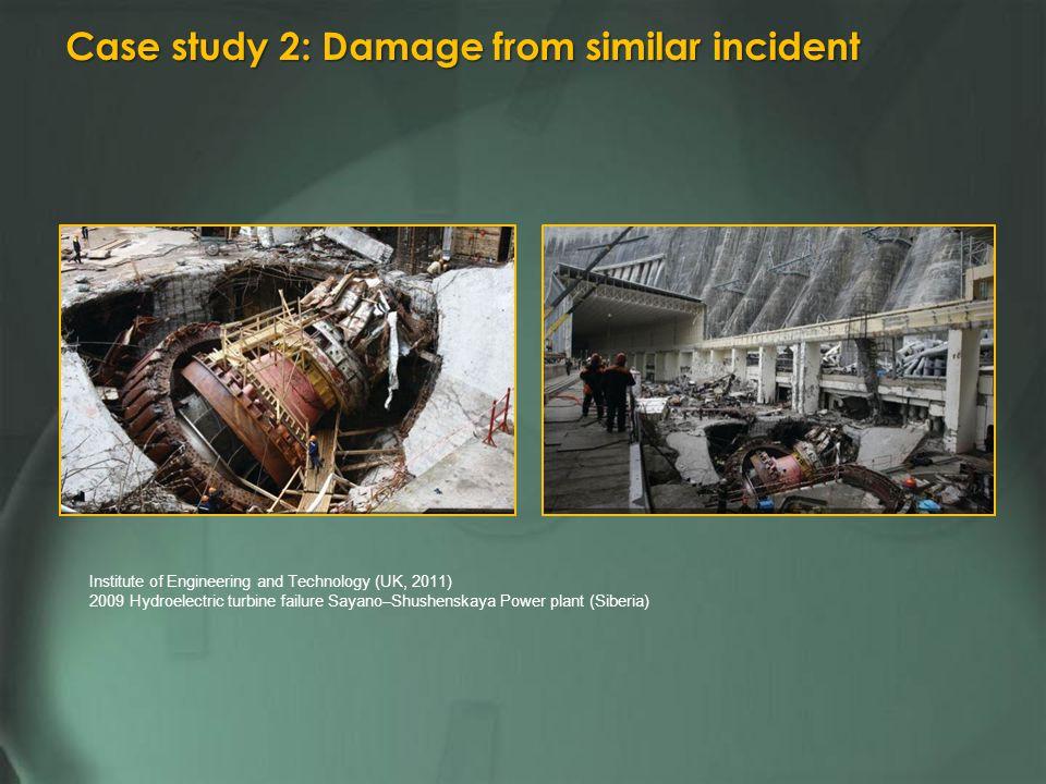 Institute of Engineering and Technology (UK, 2011) 2009 Hydroelectric turbine failure Sayano–Shushenskaya Power plant (Siberia) Case study 2: Damage from similar incident