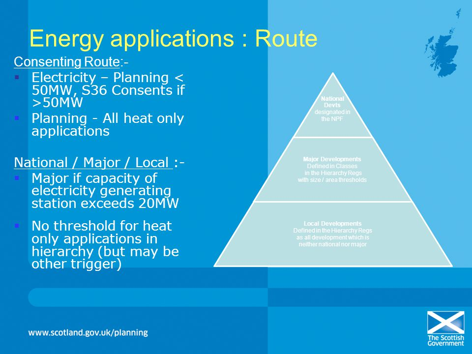 Energy applications : Route Consenting Route:- Electricity – Planning 50MW Planning - All heat only applications National / Major / Local :- Major if