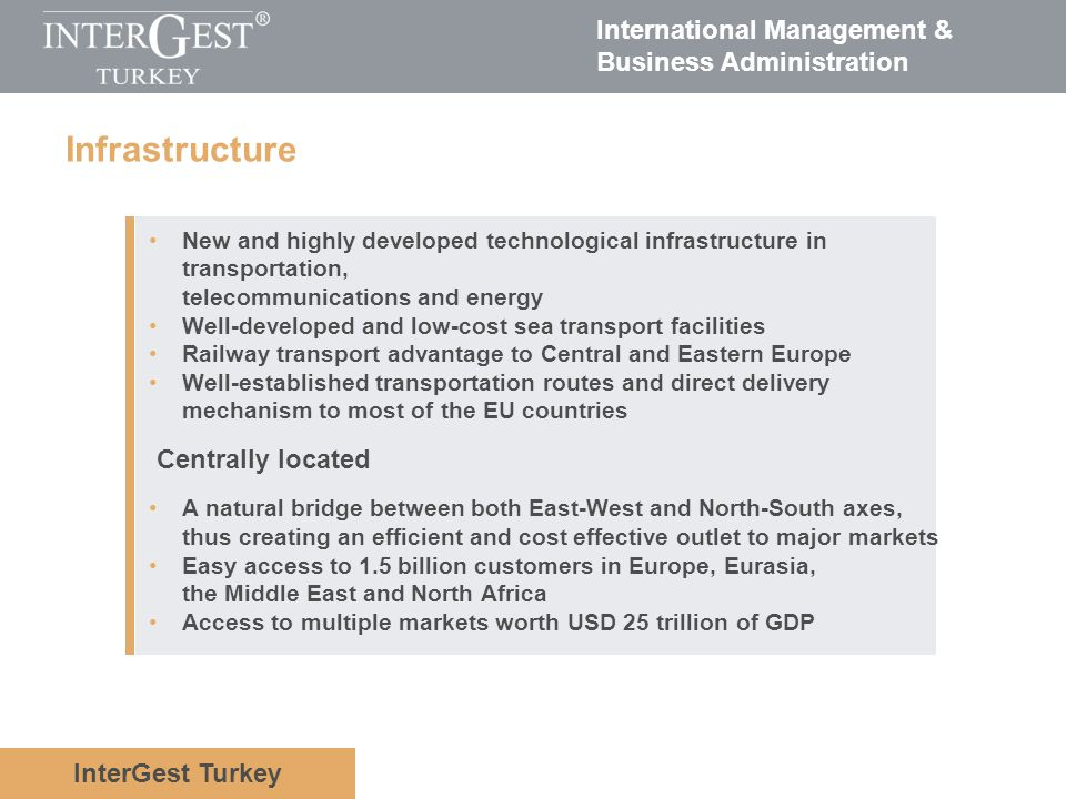 InterGest Turkey International Management & Business Administration Infrastructure New and highly developed technological infrastructure in transporta
