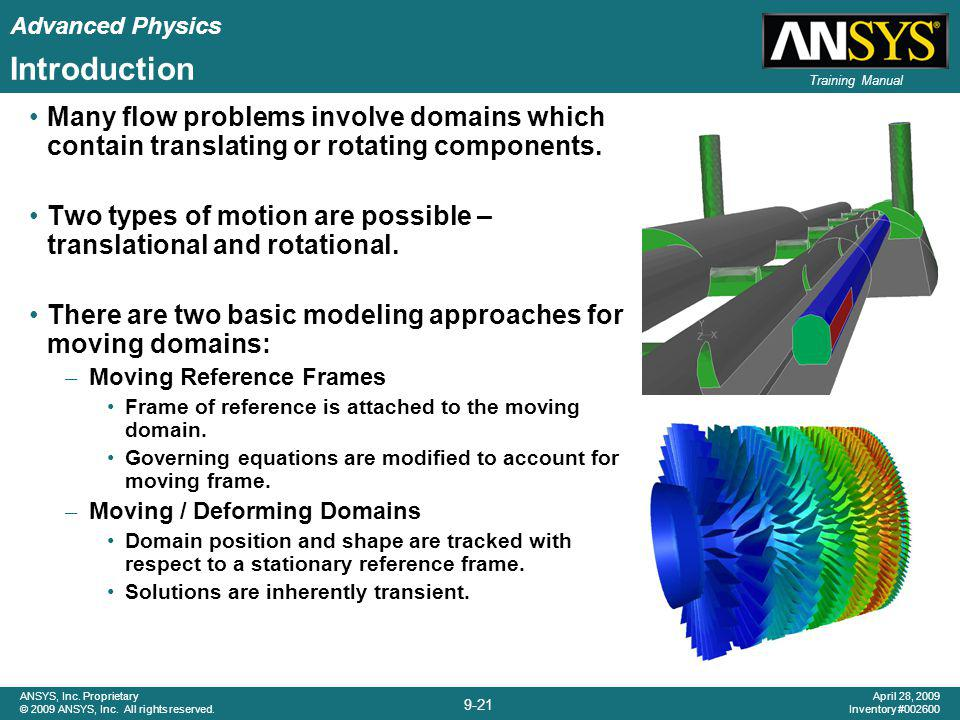 Advanced Physics 9-21 ANSYS, Inc. Proprietary © 2009 ANSYS, Inc. All rights reserved. April 28, 2009 Inventory #002600 Training Manual Introduction Ma