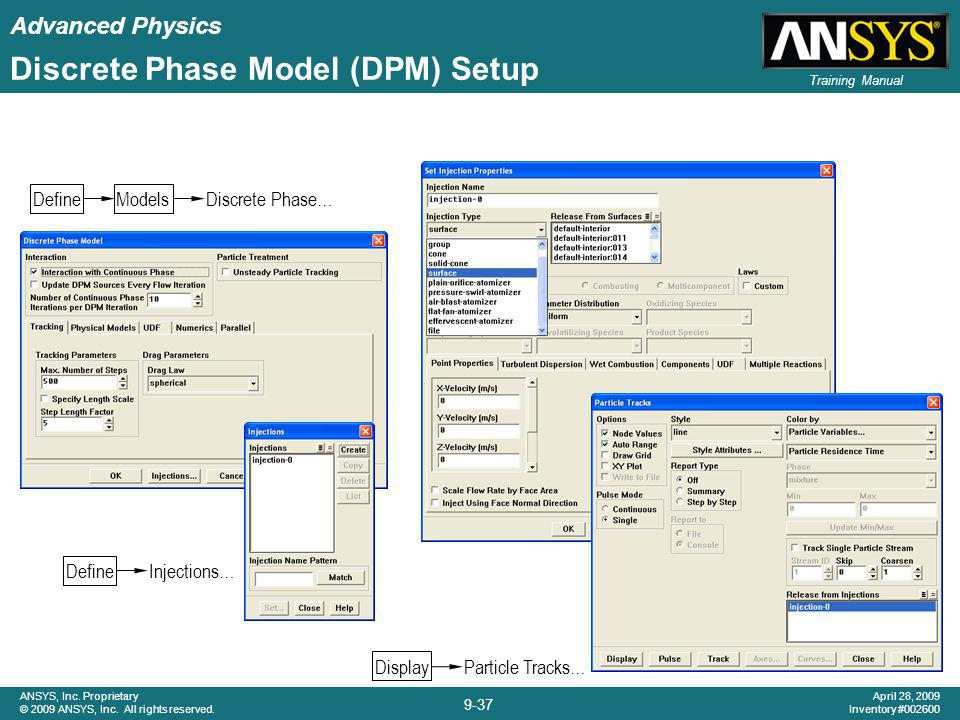 Advanced Physics 9-37 ANSYS, Inc. Proprietary © 2009 ANSYS, Inc. All rights reserved. April 28, 2009 Inventory #002600 Training Manual Discrete Phase