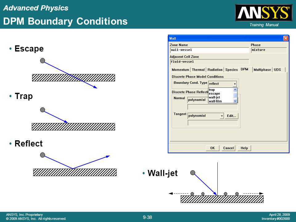 Advanced Physics 9-38 ANSYS, Inc. Proprietary © 2009 ANSYS, Inc. All rights reserved. April 28, 2009 Inventory #002600 Training Manual DPM Boundary Co