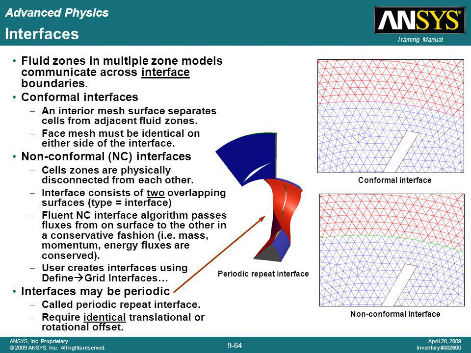 Advanced Physics 9-64 ANSYS, Inc. Proprietary © 2009 ANSYS, Inc. All rights reserved. April 28, 2009 Inventory #002600 Training Manual Interfaces Flui