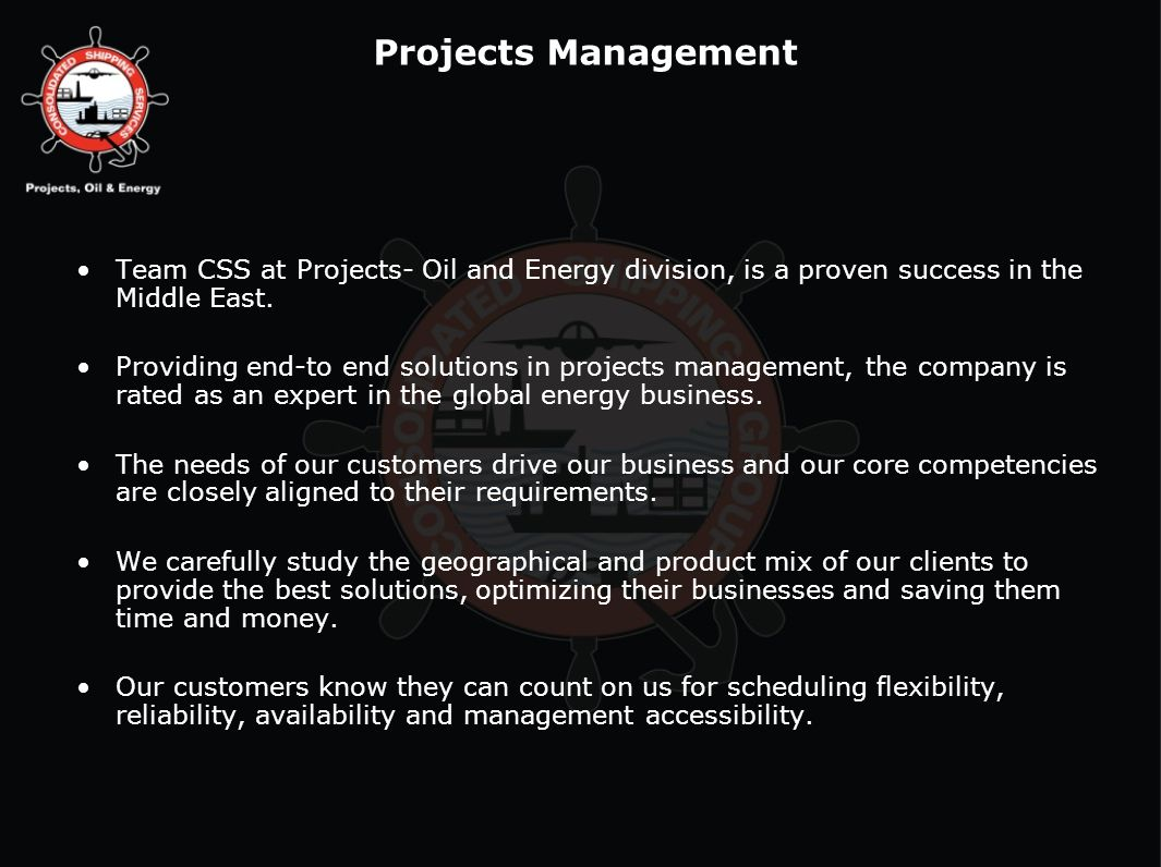 Team CSS at Projects- Oil and Energy division, is a proven success in the Middle East. Providing end-to end solutions in projects management, the comp