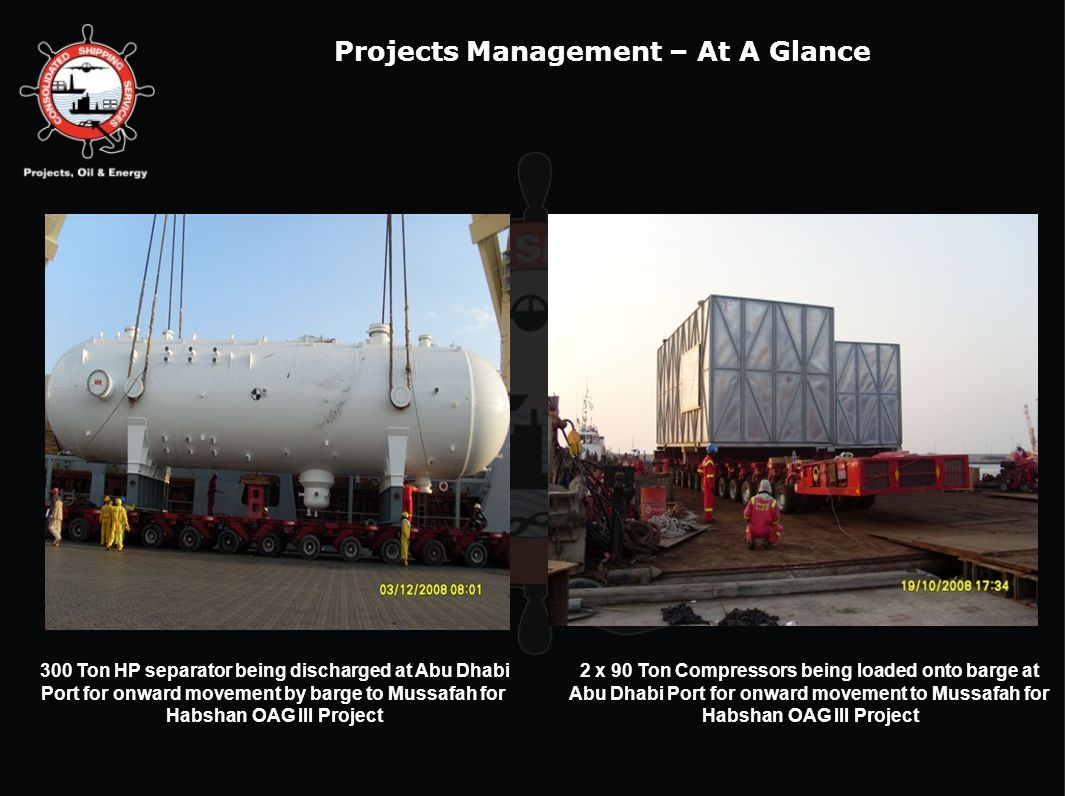 300 Ton HP separator being discharged at Abu Dhabi Port for onward movement by barge to Mussafah for Habshan OAG III Project 2 x 90 Ton Compressors be