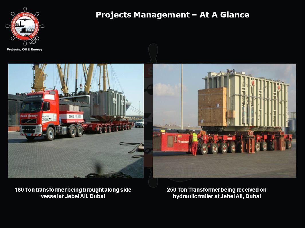 180 Ton transformer being brought along side vessel at Jebel Ali, Dubai 250 Ton Transformer being received on hydraulic trailer at Jebel Ali, Dubai Pr