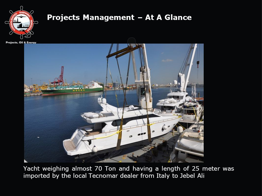 Yacht weighing almost 70 Ton and having a length of 25 meter was imported by the local Tecnomar dealer from Italy to Jebel Ali Projects Management – A