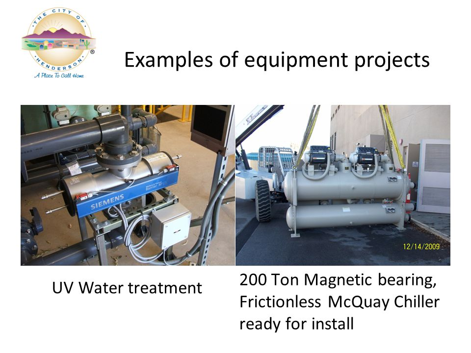UV Water treatment 200 Ton Magnetic bearing, Frictionless McQuay Chiller ready for install Examples of equipment projects