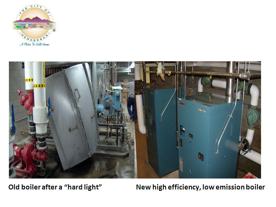 Old boiler after a hard light New high efficiency, low emission boiler