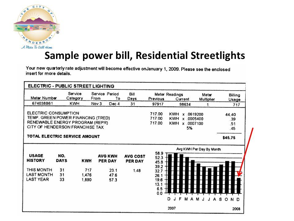 Sample power bill, Residential Streetlights