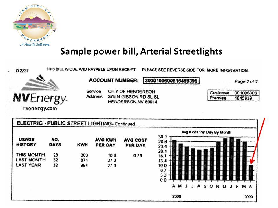 Sample power bill, Arterial Streetlights