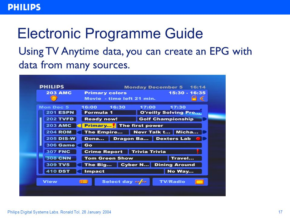 Philips Digital Systems Labs, Ronald Tol, 28 January 200417 Electronic Programme Guide Using TV Anytime data, you can create an EPG with data from many sources.
