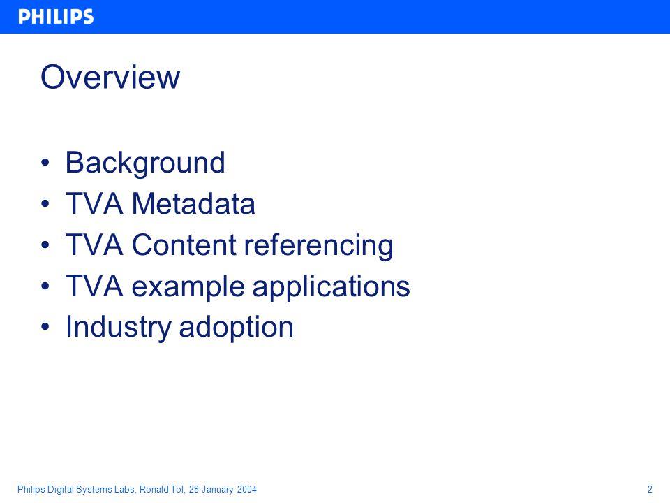 Philips Digital Systems Labs, Ronald Tol, 28 January 200423 Segmentation