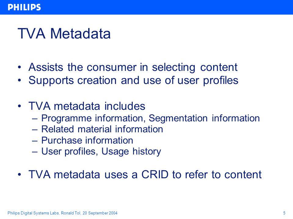 Philips Digital Systems Labs, Ronald Tol, 20 September 20046 Why standardised metadata.