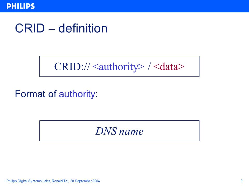 Philips Digital Systems Labs, Ronald Tol, 20 September 20049 CRID – definition Format of authority: CRID:// / DNS name