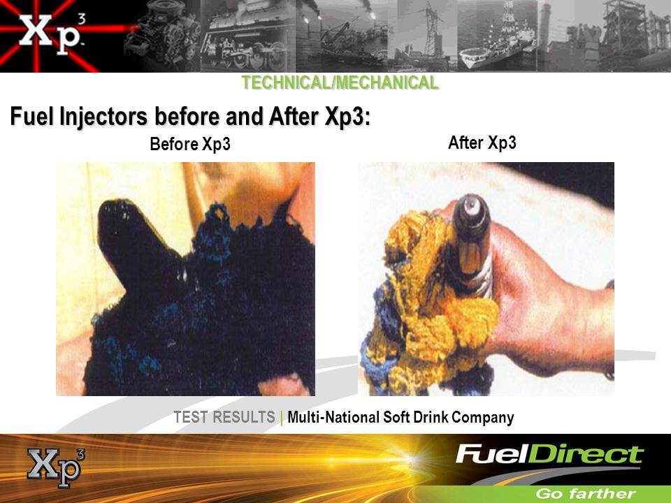 Fuel Injectors before and After Xp3: TECHNICAL/MECHANICAL After Xp3 Before Xp3 TEST RESULTS | Multi-National Soft Drink Company