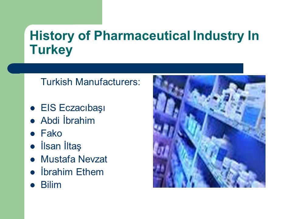 History of Pharmaceutical Industry In Turkey Turkish Manufacturers: EIS Eczacıbaşı Abdi İbrahim Fako İlsan İltaş Mustafa Nevzat İbrahim Ethem Bilim