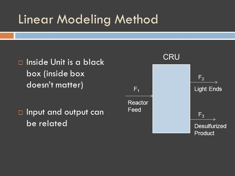 Linear Modeling Method Inside Unit is a black box (inside box doesnt matter) Input and output can be related F1F1 F2F2 F3F3 Reactor Feed Light Ends Desulfurized Product CRU