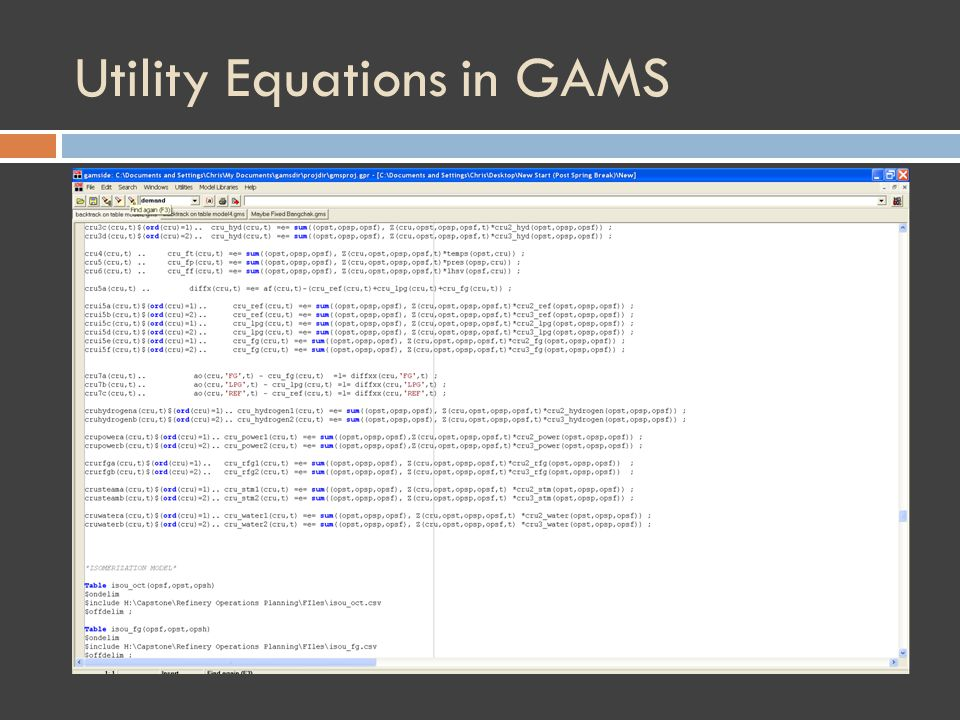 Utility Equations in GAMS