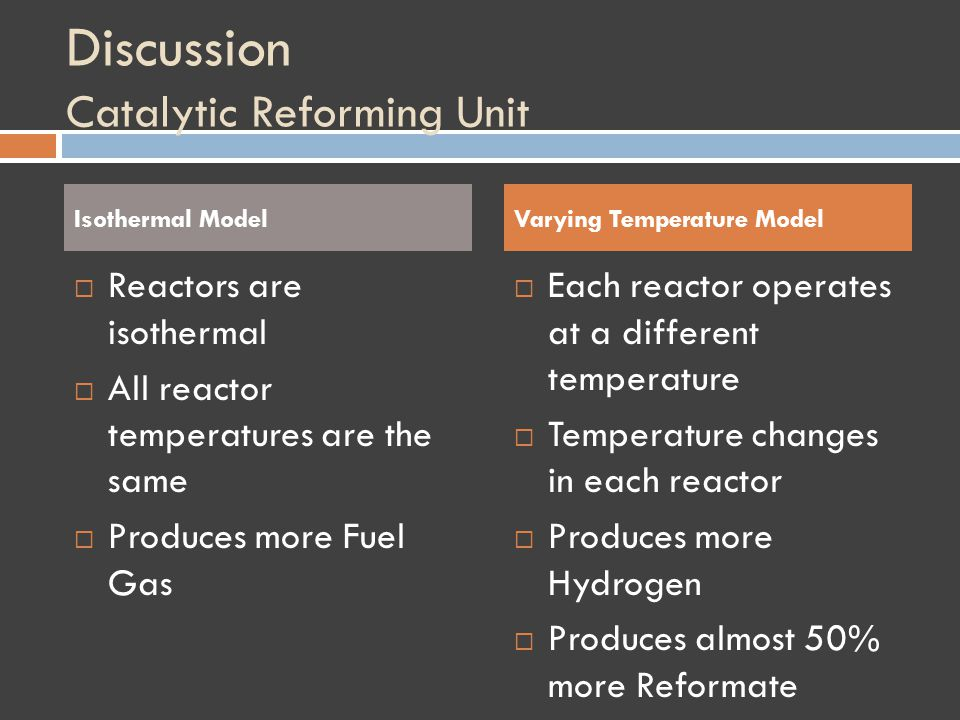 Discussion Catalytic Reforming Unit Isothermal Model Reactors are isothermal All reactor temperatures are the same Produces more Fuel Gas Varying Temperature Model Each reactor operates at a different temperature Temperature changes in each reactor Produces more Hydrogen Produces almost 50% more Reformate