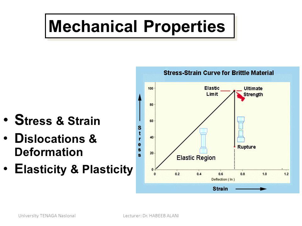S tress & Strain D islocations & Deformation E lasticity & Plasticity University TENAGA NasionalLecturer: Dr. HABEEB ALANI Mechanical Properties