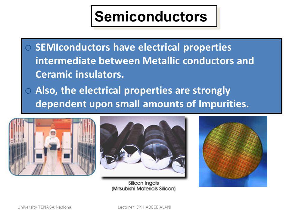 University TENAGA NasionalLecturer: Dr. HABEEB ALANI Semiconductors SEMIconductors have electrical properties intermediate between Metallic conductors