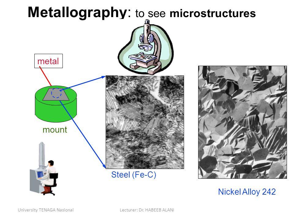University TENAGA NasionalLecturer: Dr. HABEEB ALANI mount Metallography: to see microstructures metal Steel (Fe-C) Nickel Alloy 242