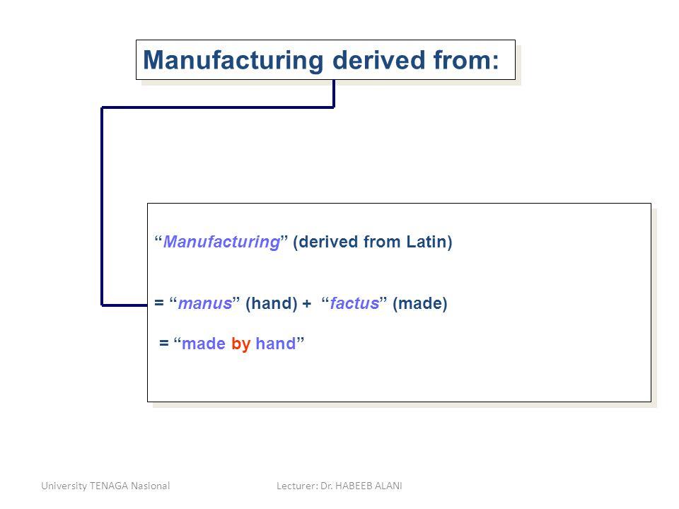 University TENAGA NasionalLecturer: Dr. HABEEB ALANI Manufacturing derived from: Manufacturing (derived from Latin) = manus (hand) + factus (made) = m