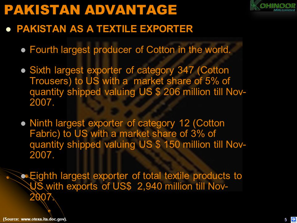 TEXTILE – APPAREL Production capacity of 300,000 pieces per month.