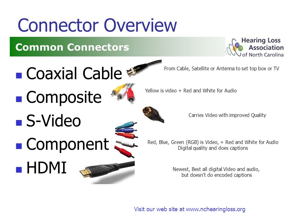 Visit our web site at www.nchearingloss.org Connector Overview Coaxial Cable Composite S-Video Component HDMI Common Connectors From Cable, Satellite or Antenna to set top box or TV Red, Blue, Green (RGB) is Video, + Red and White for Audio Digital quality and does captions Newest, Best all digital Video and audio, but doesnt do encoded captions Yellow is video + Red and White for Audio Carries Video with improved Quality