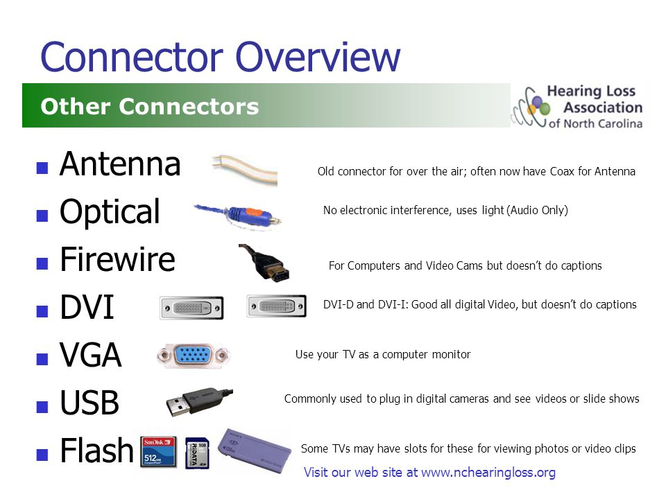 Visit our web site at www.nchearingloss.org Connector Overview Antenna Optical Firewire DVI VGA USB Flash Other Connectors DVI-D and DVI-I: Good all digital Video, but doesnt do captions For Computers and Video Cams but doesnt do captions No electronic interference, uses light (Audio Only) Use your TV as a computer monitor Old connector for over the air; often now have Coax for Antenna Commonly used to plug in digital cameras and see videos or slide shows Some TVs may have slots for these for viewing photos or video clips