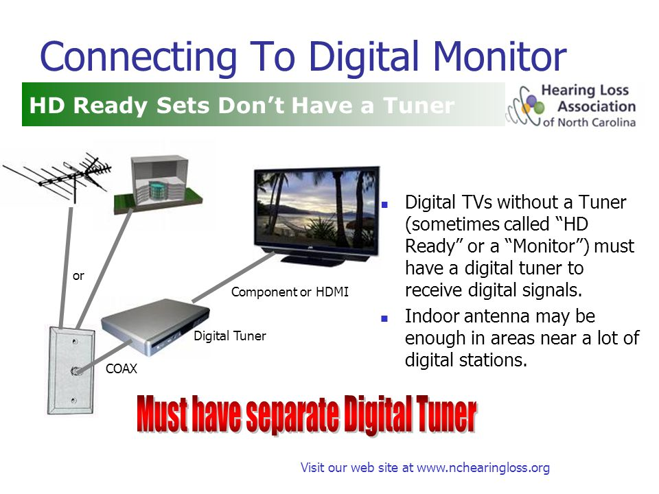 Visit our web site at www.nchearingloss.org Connecting To Digital Monitor Digital TVs without a Tuner (sometimes called HD Ready or a Monitor) must have a digital tuner to receive digital signals.
