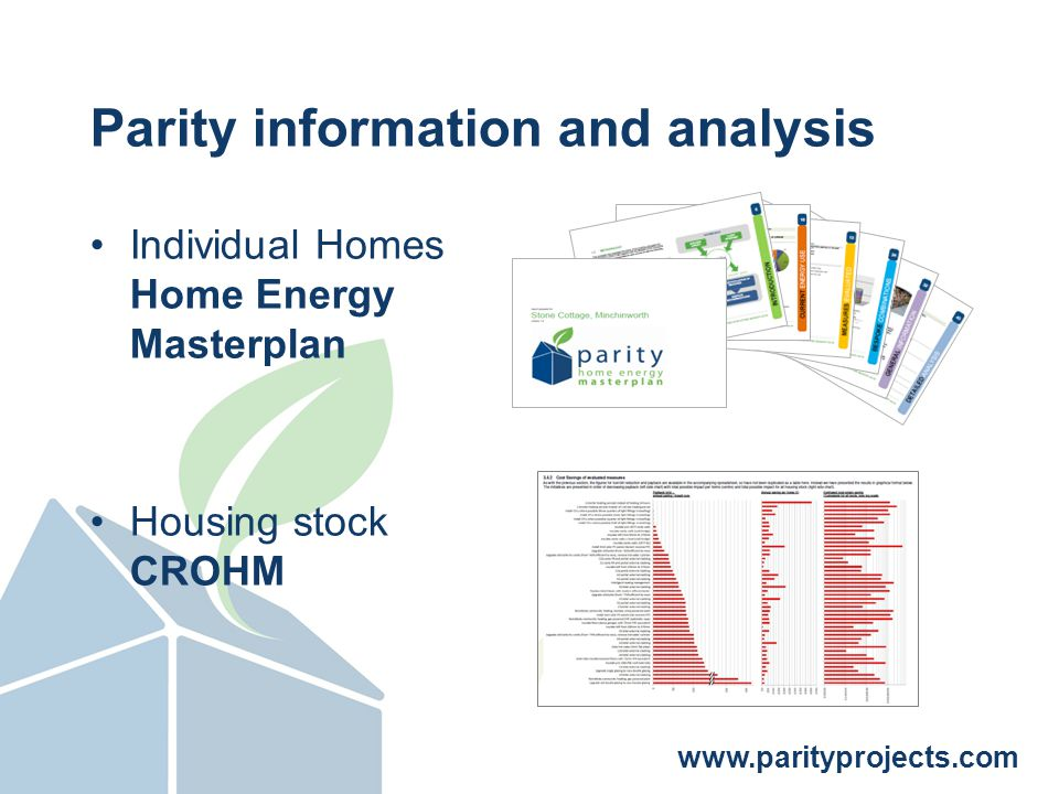 www.parityprojects.com More cost effective Greater total potential £ / tCO2 / year Total improvement possible (CO2 / year) Stage 2: Stock Assessment