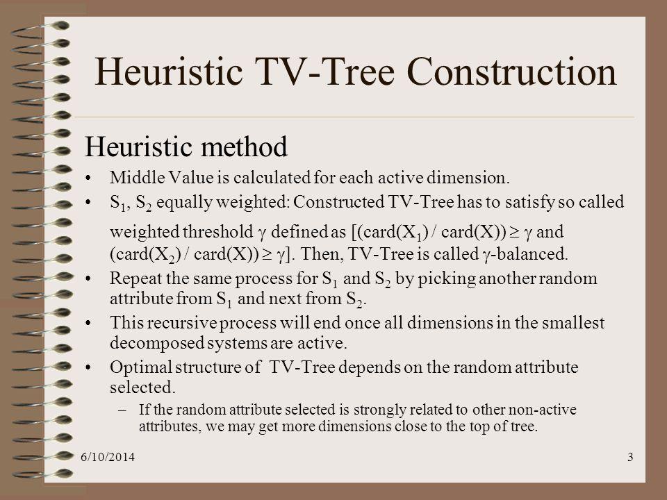 6/10/20144 Heuristic TV-Tree Construction