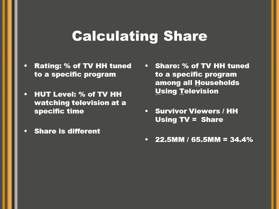 Calculating Share Rating: % of TV HH tuned to a specific program HUT Level: % of TV HH watching television at a specific time Share is different Share: % of TV HH tuned to a specific program among all Households Using Television Survivor Viewers / HH Using TV = Share 22.5MM / 65.5MM = 34.4%