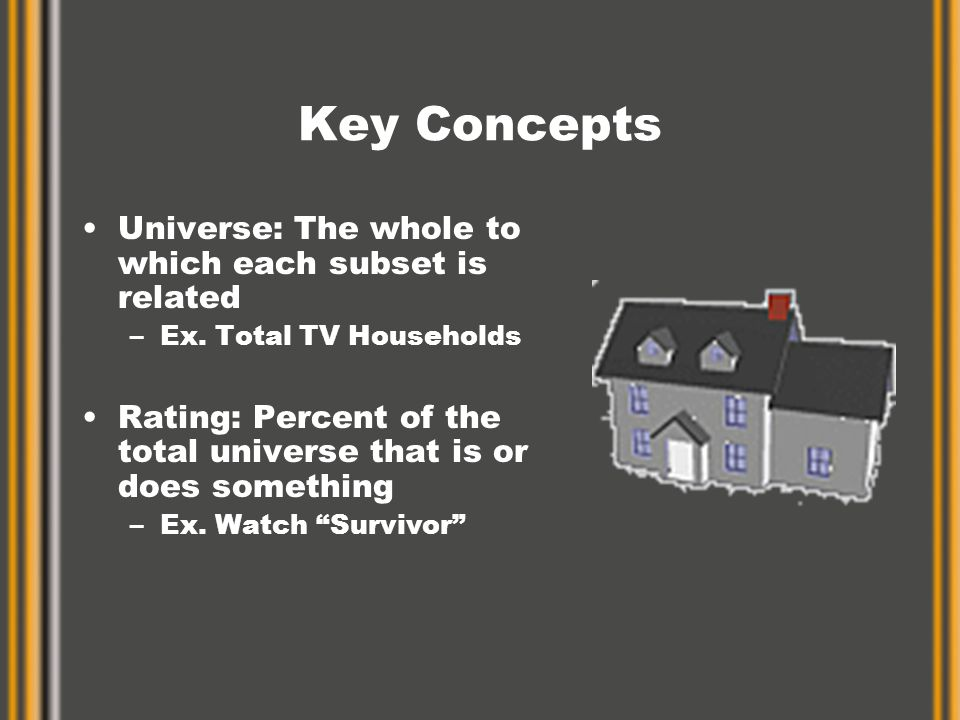 Key Concepts Universe: The whole to which each subset is related –Ex.