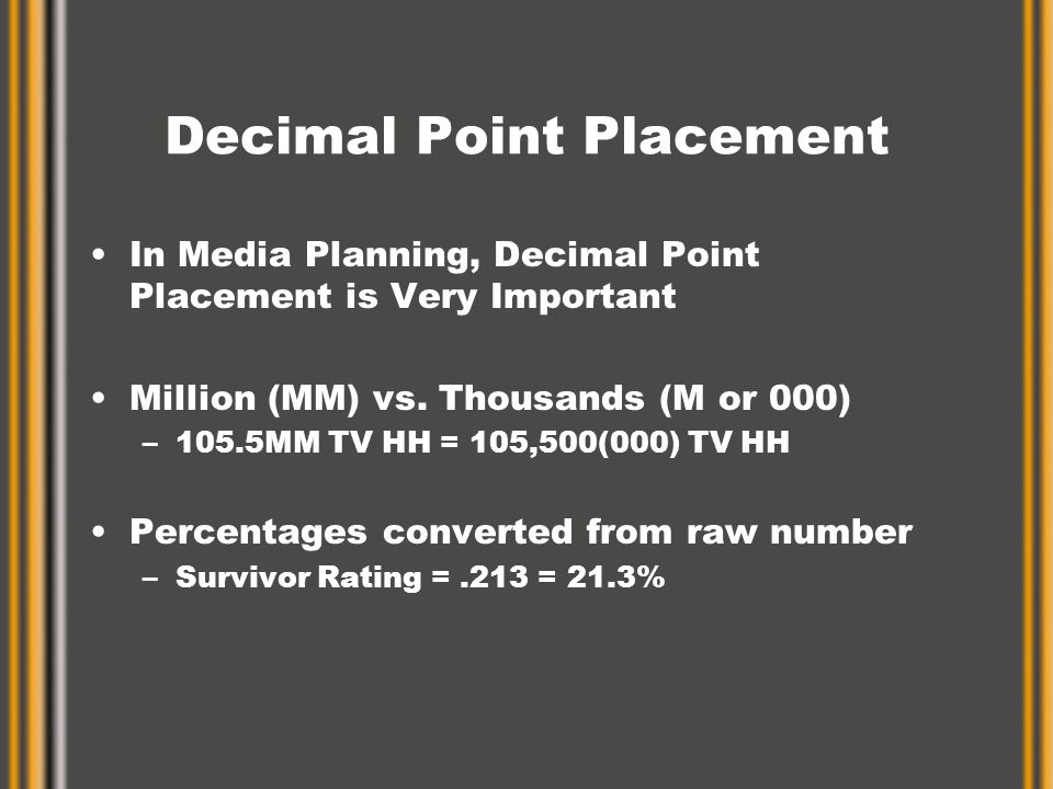 Decimal Point Placement In Media Planning, Decimal Point Placement is Very Important Million (MM) vs.