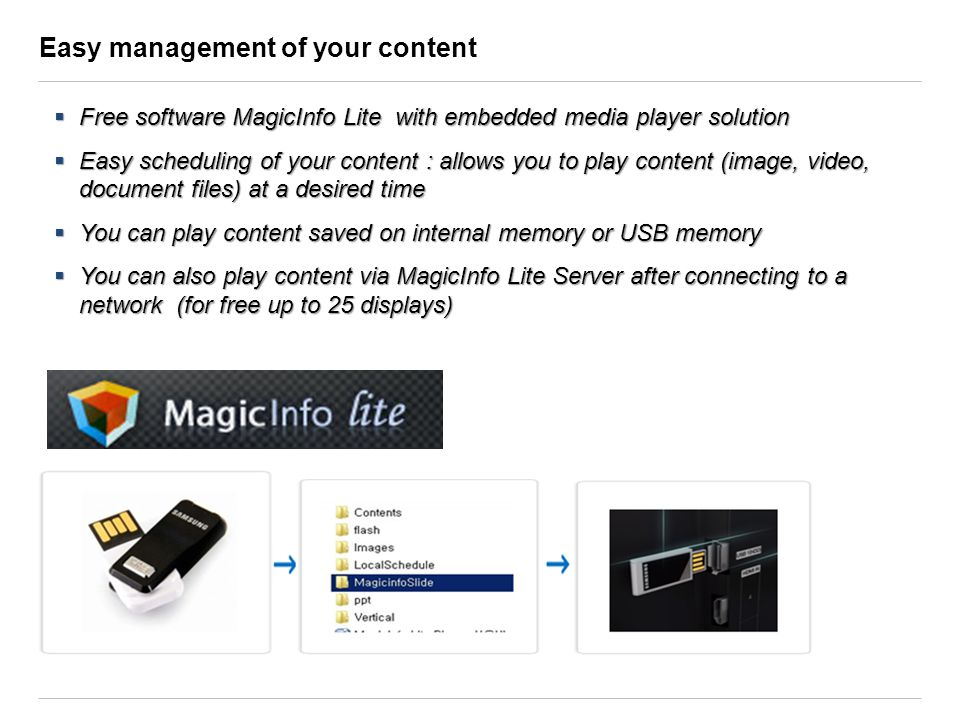Easy management of your content Free software MagicInfo Lite with embedded media player solution Free software MagicInfo Lite with embedded media play