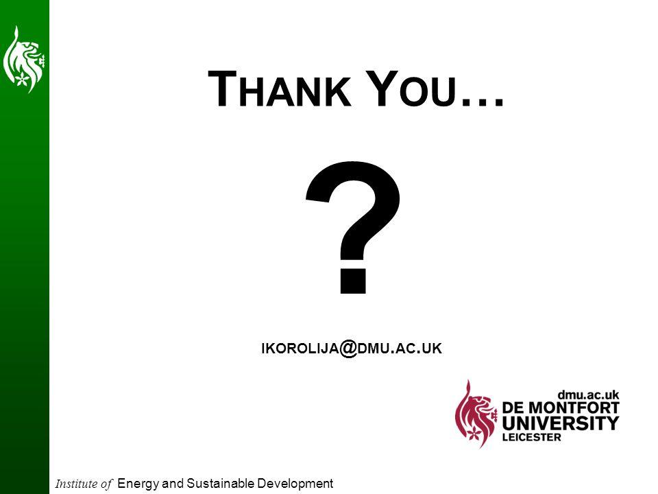Institute of Energy and Sustainable Development T HANK Y OU … ? IKOROLIJA @ DMU. AC. UK