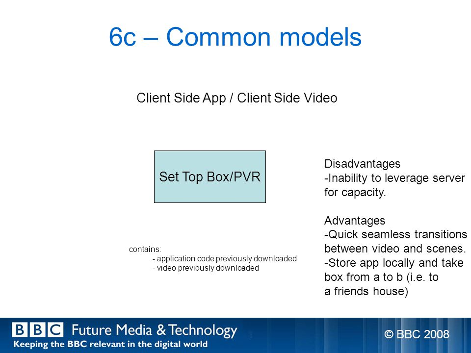 6c – Common models Set Top Box/PVR Client Side App / Client Side Video contains: - application code previously downloaded - video previously downloaded Disadvantages -Inability to leverage server for capacity.
