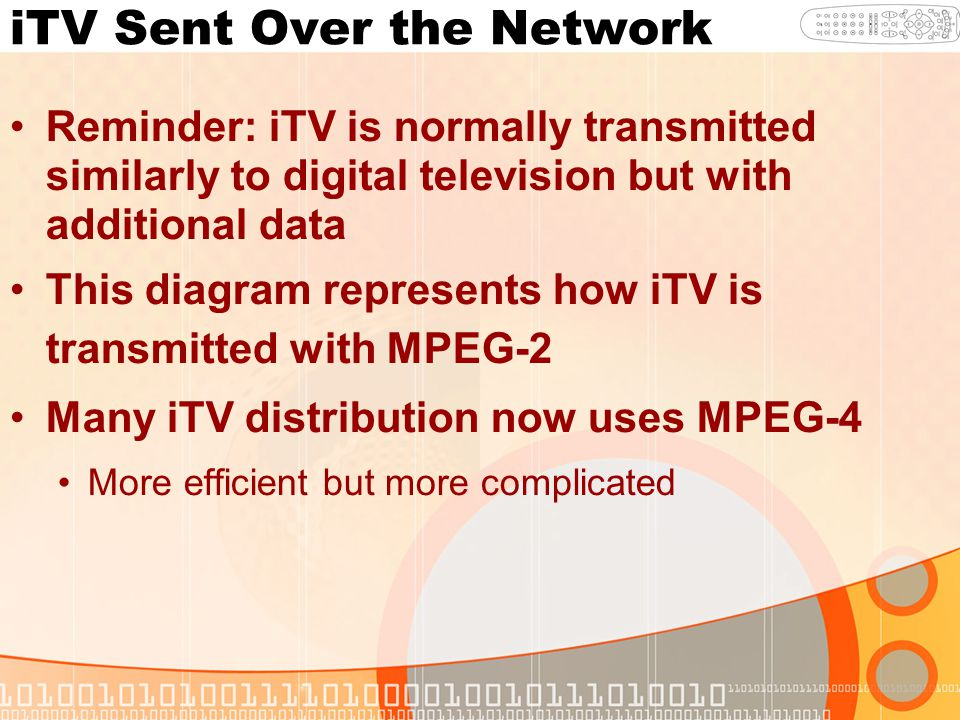 iTV Sent Over the Network Reminder: iTV is normally transmitted similarly to digital television but with additional data This diagram represents how iTV is transmitted with MPEG-2 Many iTV distribution now uses MPEG-4 More efficient but more complicated