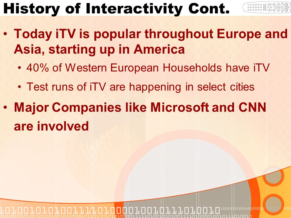 History of Interactivity Cont. Today iTV is popular throughout Europe and Asia, starting up in America 40% of Western European Households have iTV Tes