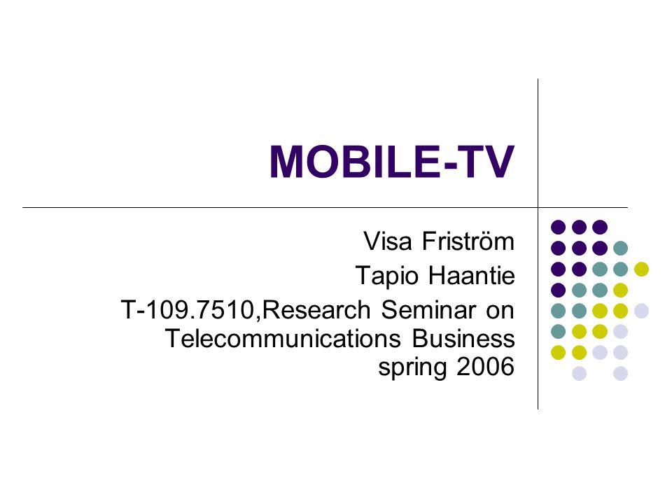 Agenda Introduction Technical background Mobile-TV services Mobile-TV pilot case Business models Mobile operators Network operators Broadcasters, aggregators, content providers Handset vendor strategies