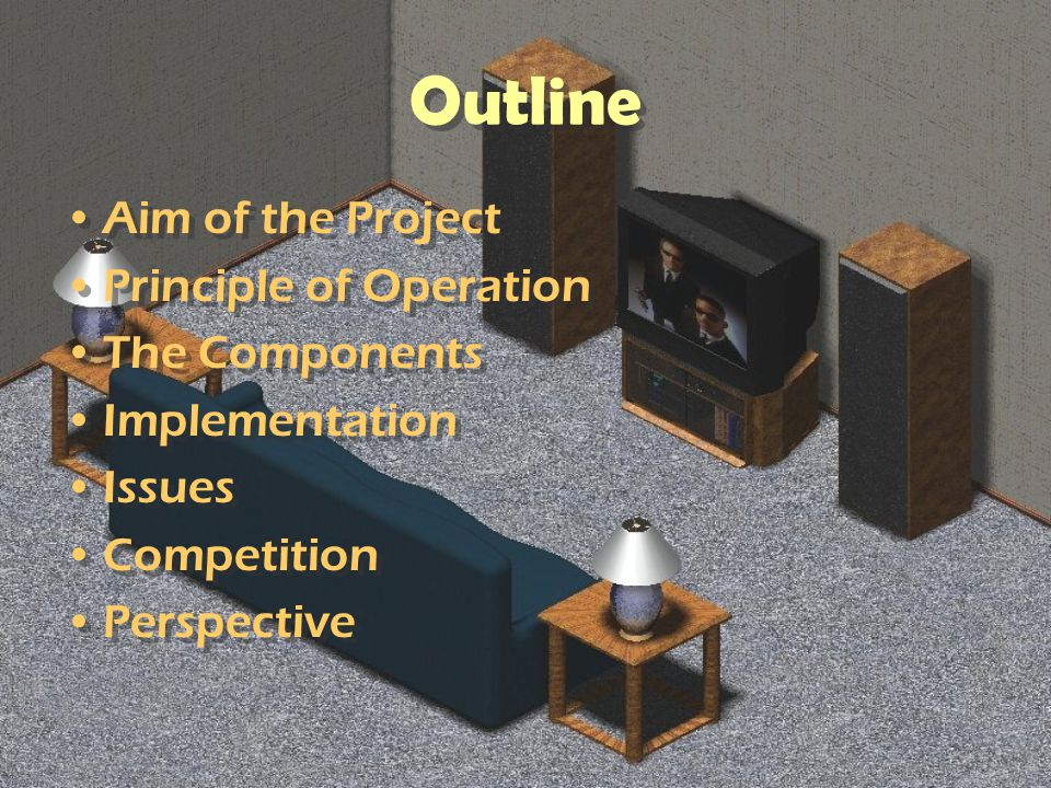 Outline Aim of the Project Principle of Operation The Components Implementation Issues Competition Perspective Aim of the Project Principle of Operati