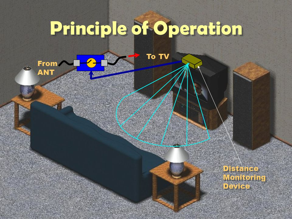 From ANT To TV Distance Measuring Device Continuously Monitors Distance to closest Object (Body) in Range If Object Detected: Turn Off Antenna Input Distance Measuring Device Continuously Monitors Distance to closest Object (Body) in Range If Object Detected: Turn Off Antenna Input Distance Monitoring Device How Does it Work